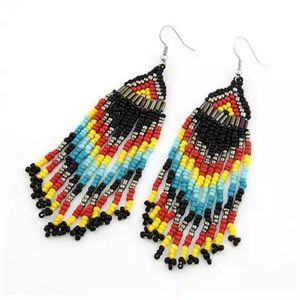Handmade Black Native Beaded Earrings